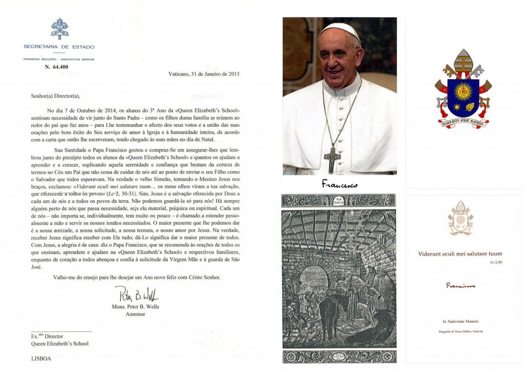 agradecimento Papa Francisco Janeiro 2015