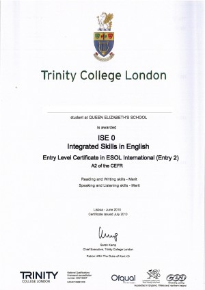 Diploma ISE 0 - Trinity College London